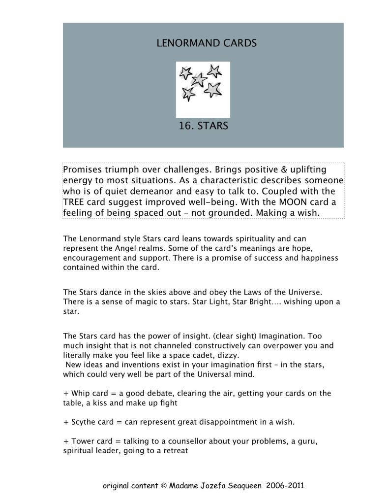 Lenormand Stars card   Ask my Cards