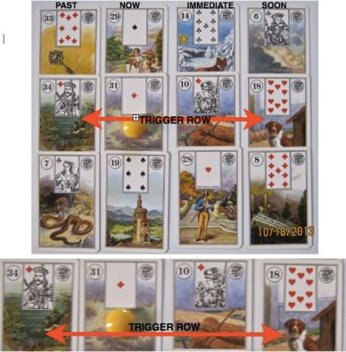 Seaqueen's Trigger Layout featuring Piatnik's Lenormand cards.