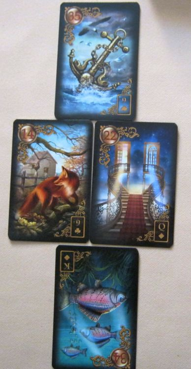 4 card Elements layout Gilded Reverie Lenormand