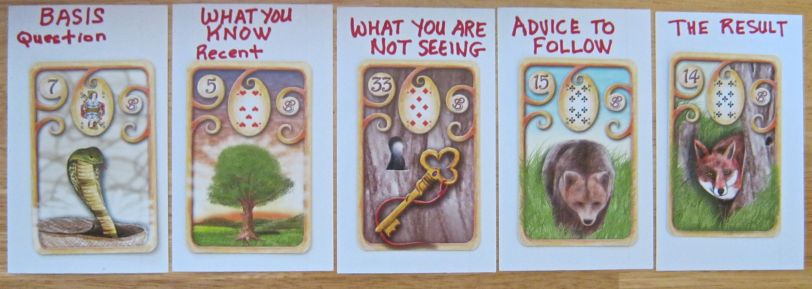 5 card ADVICE layout featuring Magische Lenormand
