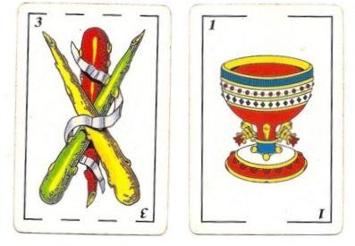 3 Wands BASTOS . Ace of Cups COPAS
