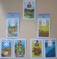 Decision Layout featuring Lenormand Wahrsagekarten (ASS)