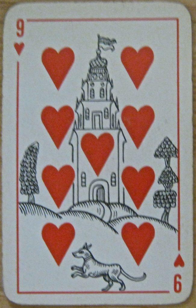 9 hearts vintage Russian deck