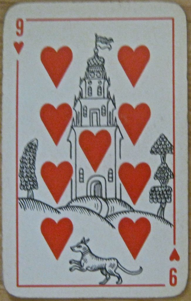 9 hearts vintage Russian deck
