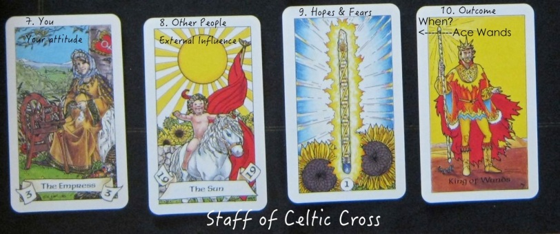 Staff cards of Celtic cross layout