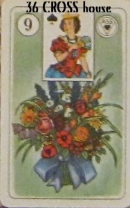 Lenormand Bouquet card in Cross house