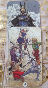 Robin Wood. King of Swords. 5 of Wands.