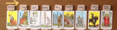 Tarot cards in Lenormand Houses 1-9