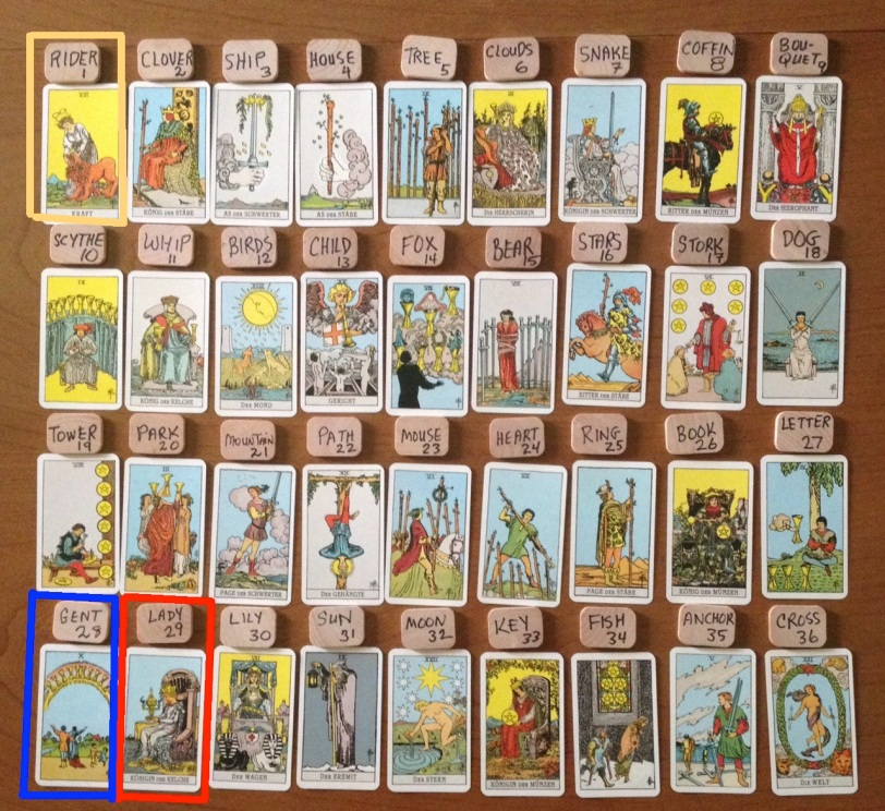 Tarot cards in Lenormand Houses GT