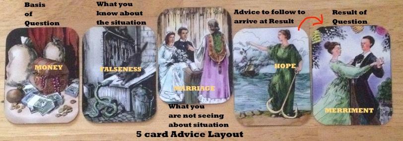 5 card Advice layout Zigeuner Wahrsagekarten