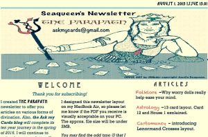 August 1st issue of the Parapath newsletter. Cover art copyright JSNeder/Jozefa Seaqueen