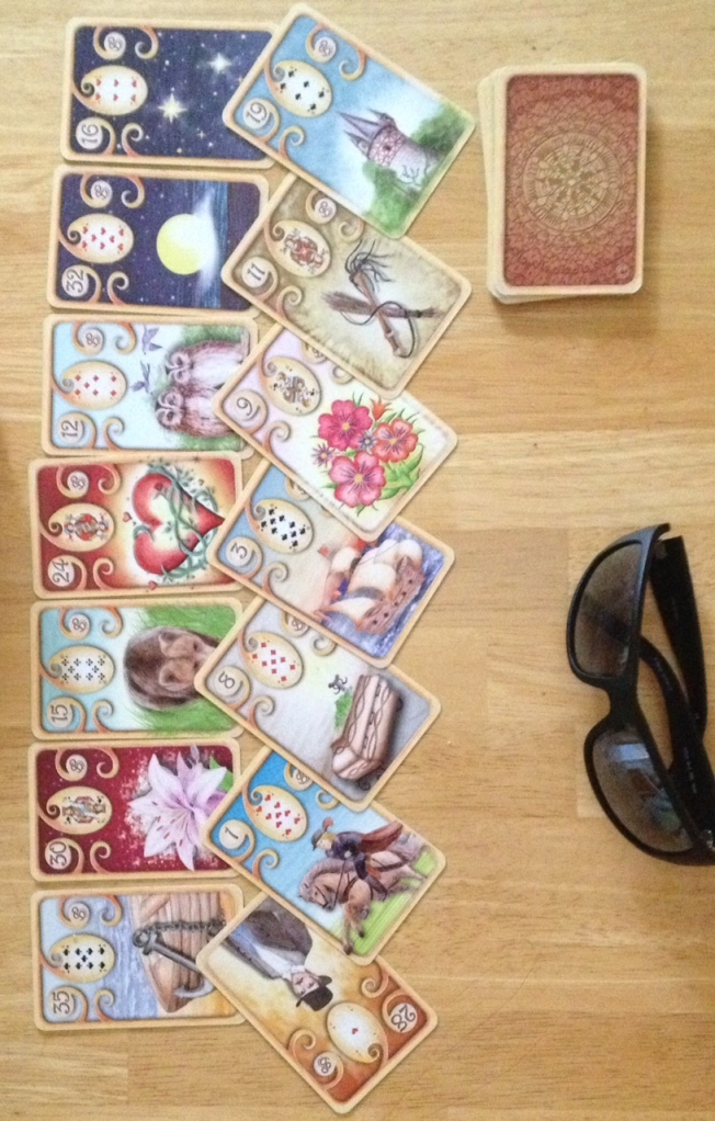 Chakra questions layout featuring Magisches Lenormand