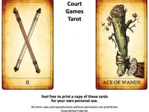 ACE AND TWO WANDS. COURT GAMES TAROT. DARKTAROT.COM - 1
