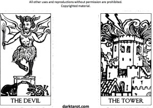 DEVIL AND TOWER. ARCHETYPES DARK TAROT. DARKTAROT.COM - 1