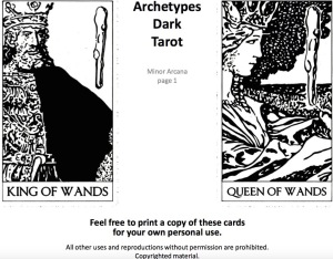 KING AND QUEEN WANDS. ARCHETYPES DARK TAROT. DARKTAROT.COM - 1