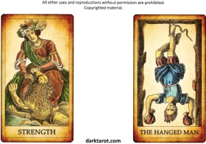 STRENGTH AND HANGED MAN. COURT GAMES TAROT. DARKTAROT.COM - 1